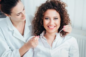 Woman at dentist for dental implants